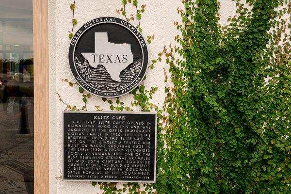Historical plaque at Magnolia Table in Waco, Texas
