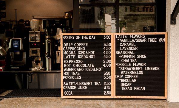 Coffee menu at Magnolia Table in Waco, Texas
